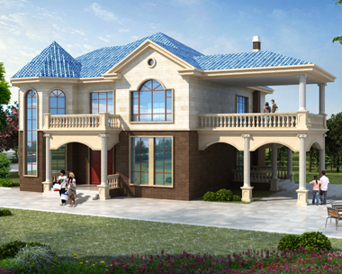 二层双车库简欧带露台漂亮别墅设计施工图纸18.7mX15.6m
