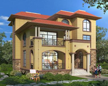 门口走廊屋顶前后露台三层简洁别墅外观效果图设计