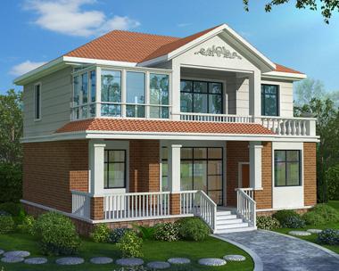 休闲走廊/阳光房二层私人别墅设计图纸11.7mX10.3m