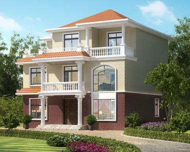 农村三层简洁实用型别墅外观效果图纸