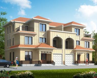 三层双拼别墅设计图,兄弟自建漂亮复式楼中楼带车库别墅设计图纸21.5mX12.5m
