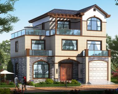 2019新款现代新中式带车库三层别墅设计图纸带外观效果图12.5米X12.7米