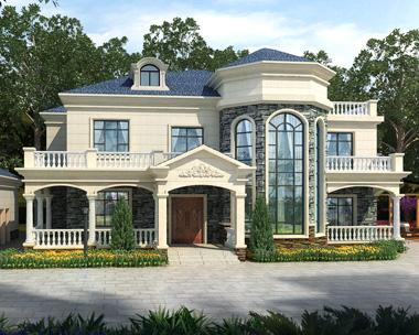 大气简欧式二层私人休闲度假别墅设计图纸及效果图26mX13m