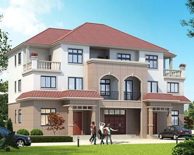 2019新款三层联排兄弟合建别墅农村自建房设计图纸20mX12.5m