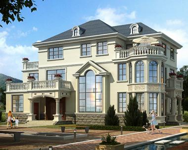 私人2019新品三层欧式带堂屋别墅设计施工图纸19.8mX12.6m
