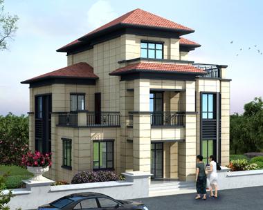 2019新中式风格漂亮大方三层复式别墅设计外观效果图
