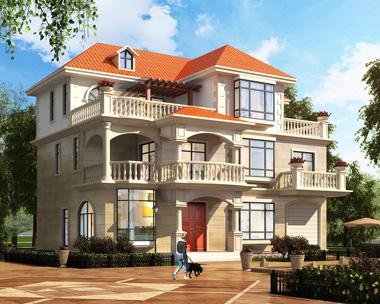 简欧新品三层屋顶花园带车库别墅设计外观效果图