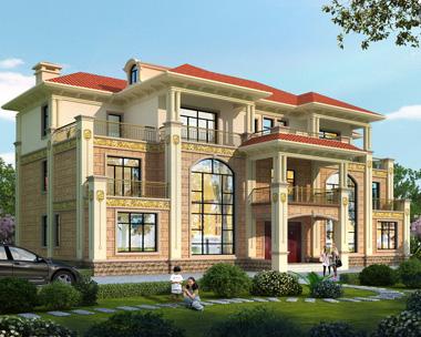 新款兄弟共堂屋双拼三层复式别墅设计外观效果图