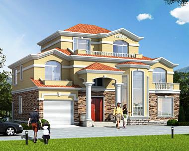 新品简欧二层半层复式楼带车库私家别墅图纸17.4mX13.5m