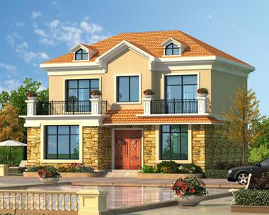 新品简约清新二层带阳台别墅外观效果图设计