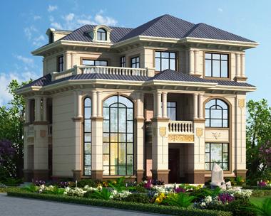 2019新款带庭院欧式三层复式漂亮别墅设计图纸