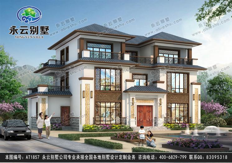 【带装修图】清新典雅新中式三层私家别墅设计外观图