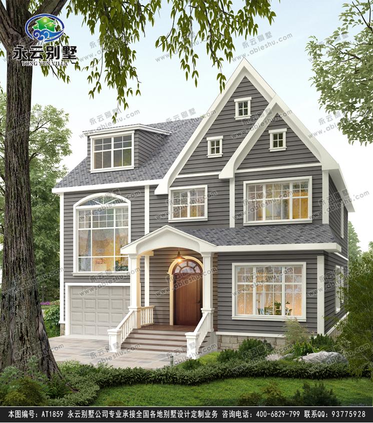 新款美式风格二层复式带阁楼别墅设计外观效果图