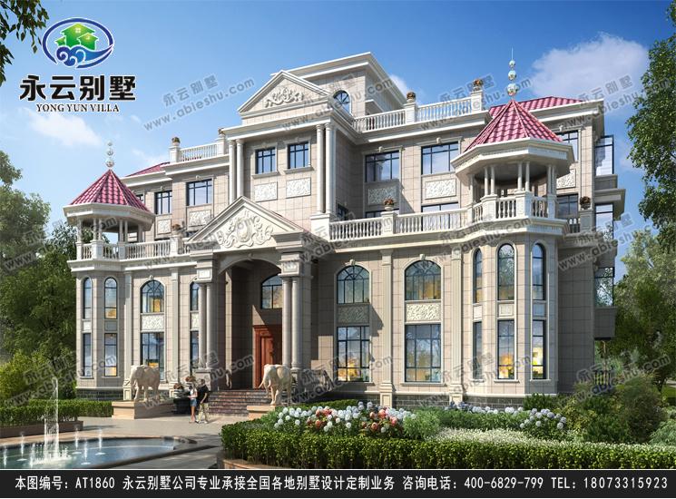 【新款】高端豪宅复式带电梯四层别墅建筑设计外观效果图