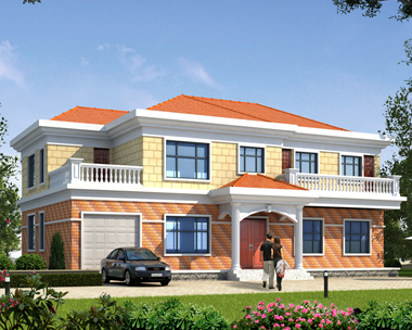 简单大方二层带车库兄弟共住小别墅2019新农村自建房设计图纸18.2mX11.8m