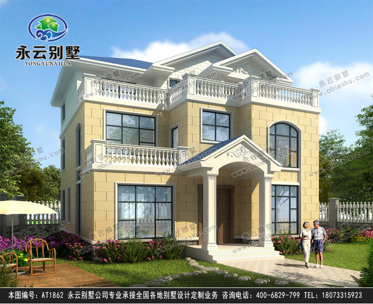 新农村自建房屋设计简约三层别墅全套施工外观效果图