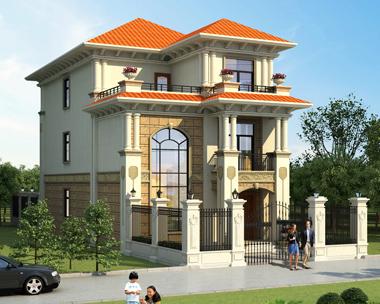 新农村简欧三层复式小开间别墅设计全套自建房设计图纸8mX19m