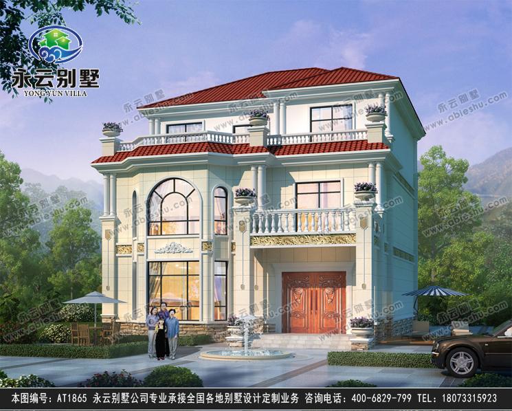 新农村简欧三层大客厅复式别墅设计效果图12mX14.8m