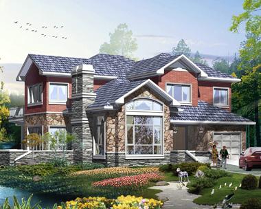 新款二层简洁大方带车库美式风格别墅设计图纸14.7mX14.7m