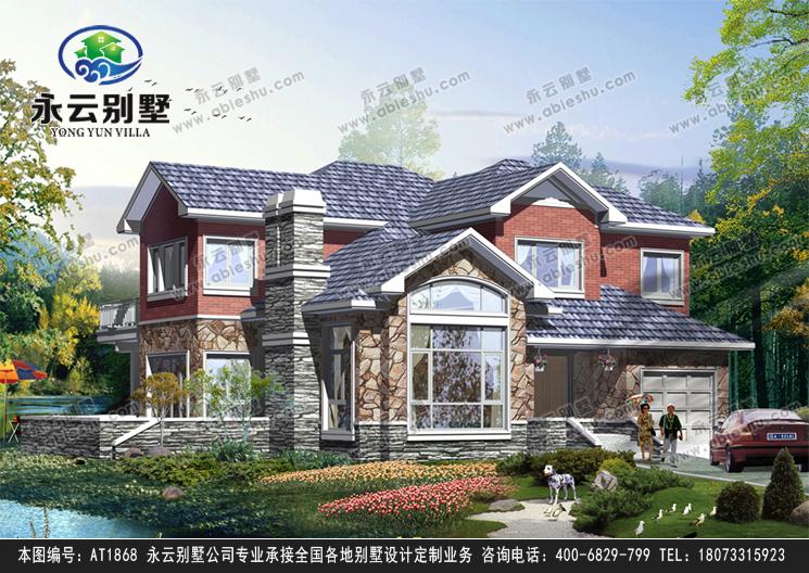 新款二层简洁大方带车库美式风格别墅设计外观效果图