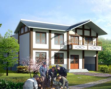乡村新中式风格二层带内院住宅设计施工图纸12.6mX14m