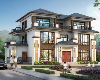 【带装修图】典雅新中式三层私家别墅设计施工图纸