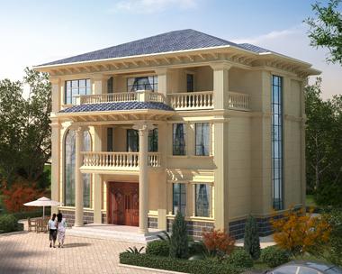 2019新款简欧风格三层楼兄弟合建套房别墅图纸设计图14mX13.7m