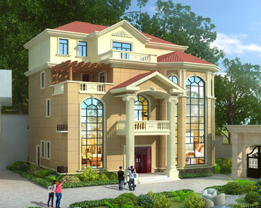 2019新款-送院门设计欧式四层复式楼大气别墅设计图纸15.2X15.5