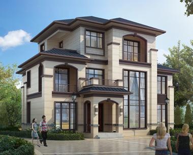时尚简约新中式风格三层复式楼别墅设计施工外观效果图