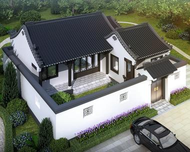 一层带庭院新中式古典风格小别墅设计施工图纸13mX14m