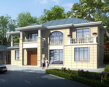 【带装修图纸】二层简约大方造价经济的乡村风情别墅设计施工图纸18.5mX12.3m