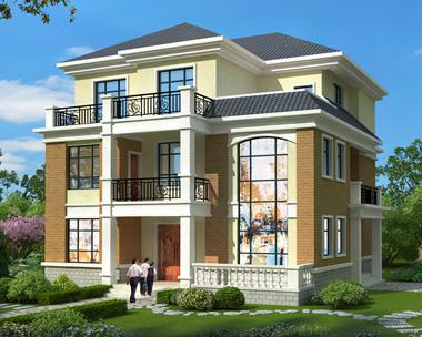 欧式风格三层高端豪华复式楼别墅外观效果图设计