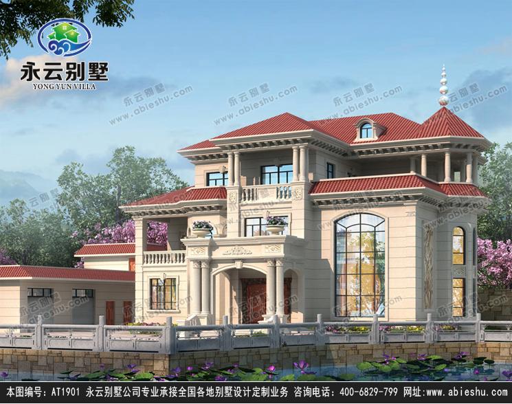 欧式风格三层高端豪华复式楼别墅设计施工外观效果图