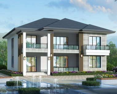 新款现代风格清雅简单二层别墅设计施工图纸15mX15.7m