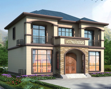 2020款新中式简约大方二层左右对称别墅设计图11.5mx10.5m