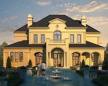 二层带地下室法式风格豪宅别墅设计外观效果图