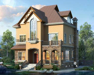 二层带阁楼和半地下室美式风情别墅设计施工图纸10.9mX14.9m