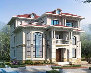 豪华欧式风格三层复式楼别墅设计全套施工图纸14.3mX16.1m