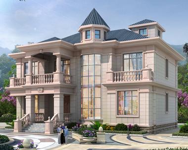 简欧大气二层带八角通窗复式楼别墅设计施工图纸16.5mX16.5m