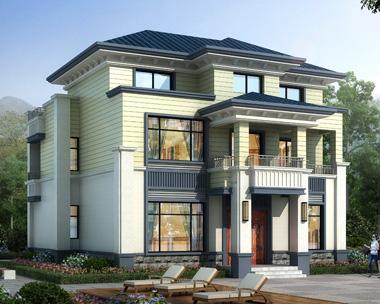 清新优雅海派风格二层半私家别墅设计全套图纸12mX11m