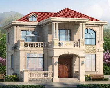 五室三厅新农村简欧二层带外廊精致别墅设计图纸12.5mX13.5m