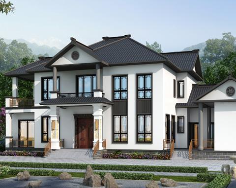 2021新款带内院/柴火房经典新中式二层自建别墅全套图纸27mX12.7m