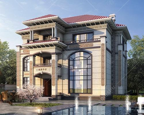 欧式新款/三层复式楼新农村欧式别墅效果图及全套施工图