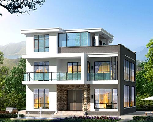 新款占地150平米现代三层简约大方别墅设计图12mX11.8m