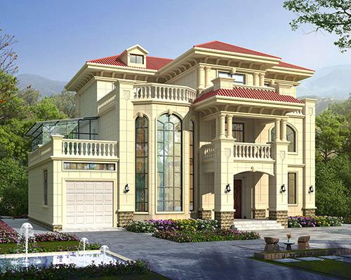带车库欧式弧形楼梯三层复式楼别墅设计图纸16.9mX14.2m