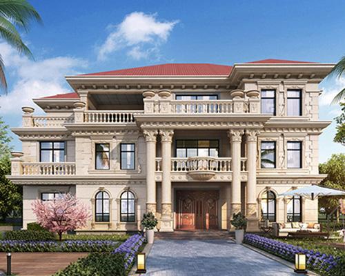 欧式风格带传统堂屋三层高端大气别墅设计图纸及效果图