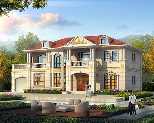 河北沧州市刘先生沉稳大气两层带车库及大露台五开间欧式别墅设计案例