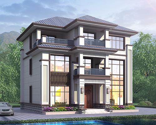 占地120平米新中式三层简约风格别墅施工图纸11.7mX10.8m