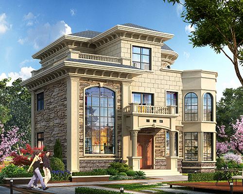 占地150平米欧式三层简约大方别墅设计施工图纸14mX13m