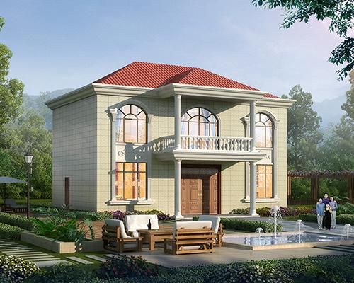 简约大方100平米两层新农村自建小别墅房设计案例